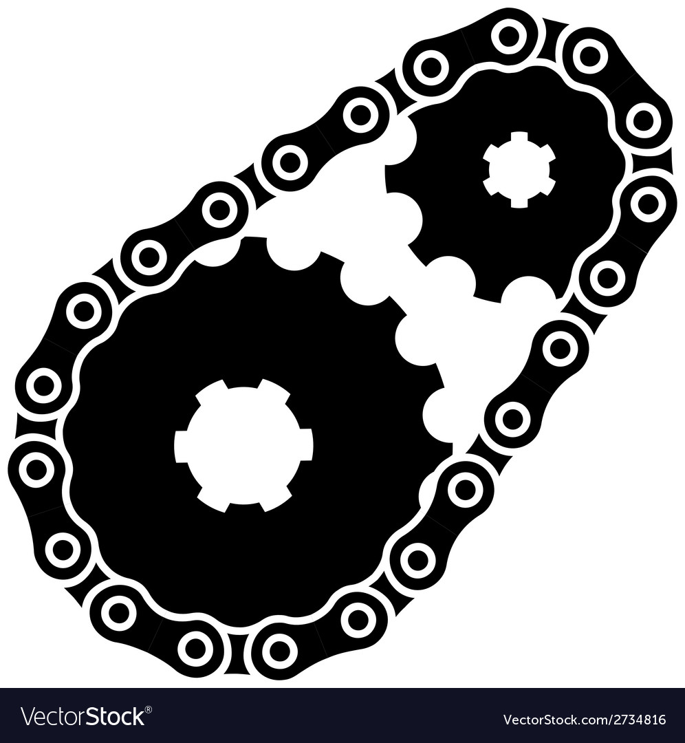 Industrial Chain Sprocket Silhouette Royalty Free Vector