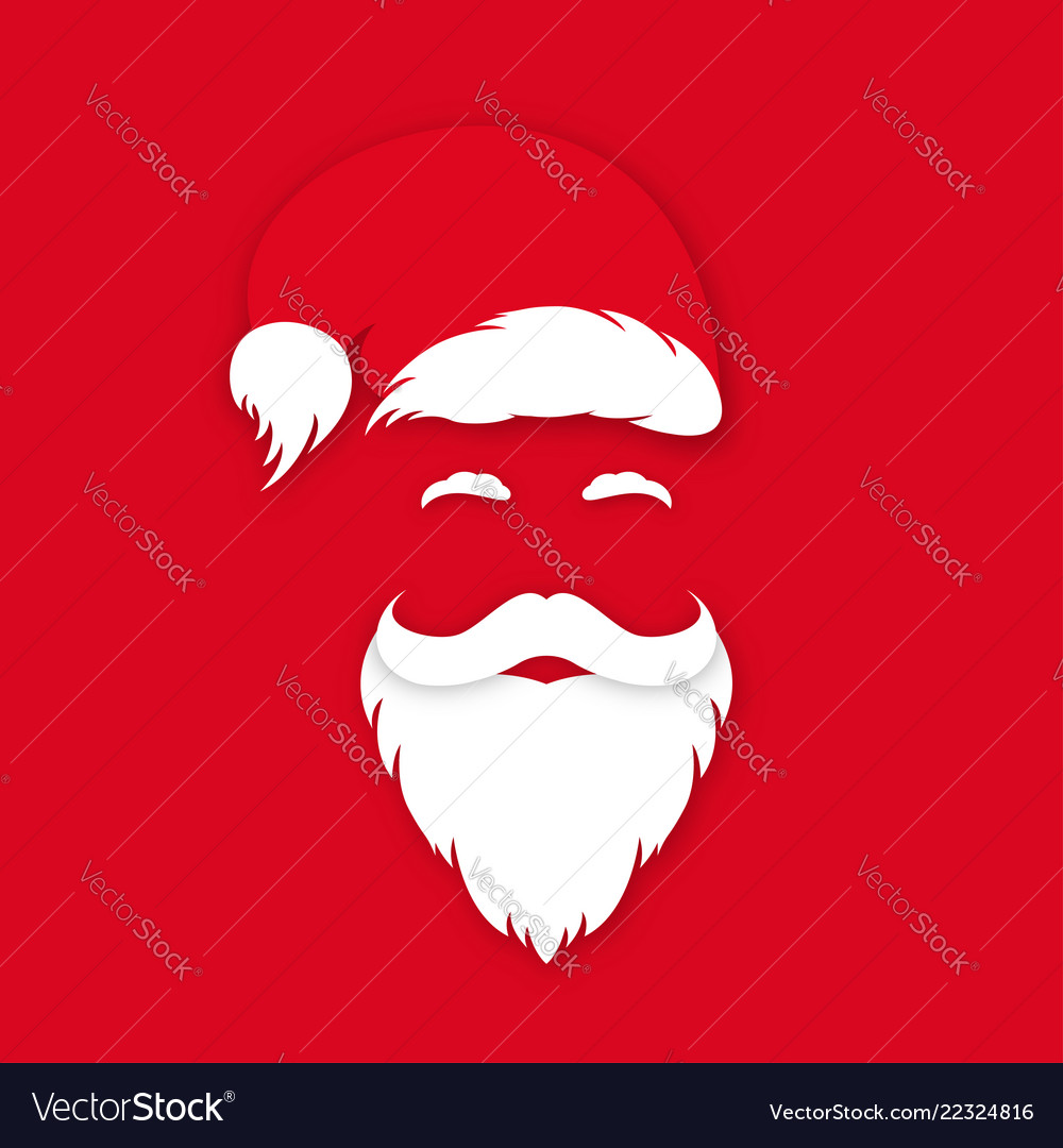 Santa claus in hat on red background santa claus
