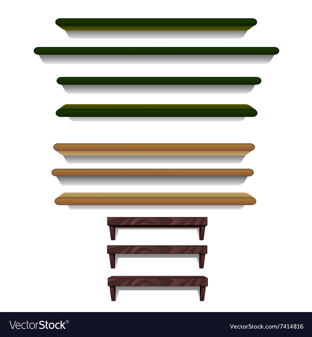 Set of shelves different colors and sizes
