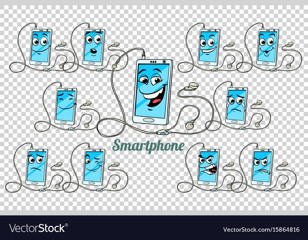Smartphone headphones emotions characters