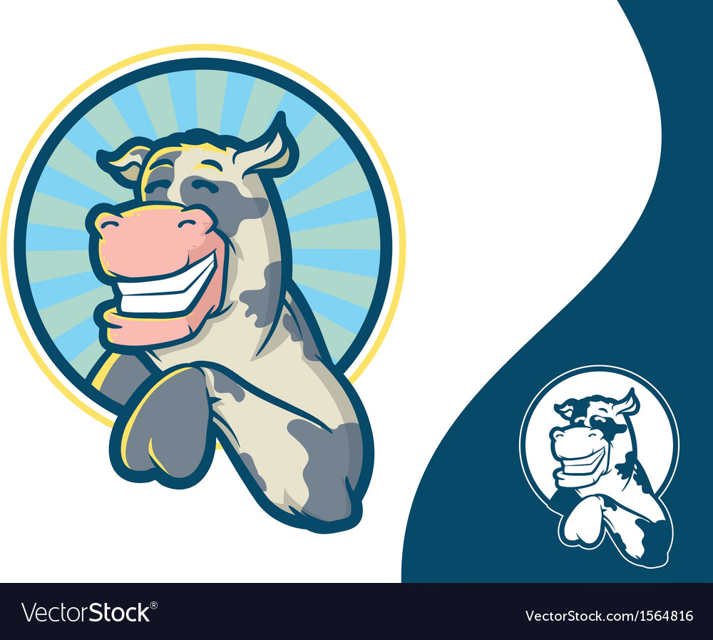 Smiling Cow Mascot Character