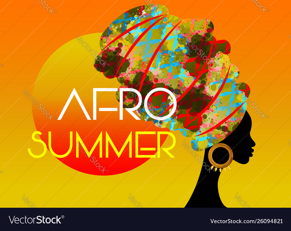 Afro summer party black african head woman