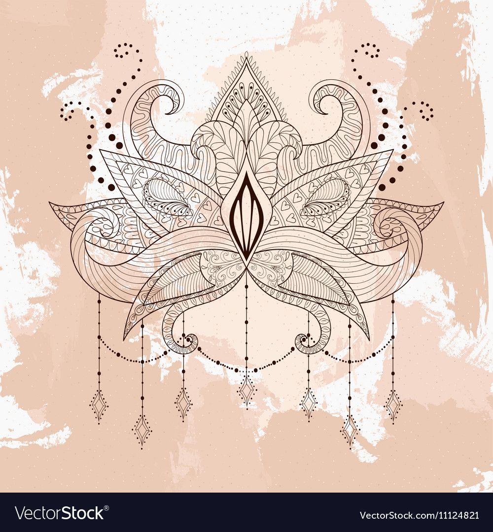 Boho Ornamental Lotus Flower Henna Tattoo Design Vector Image