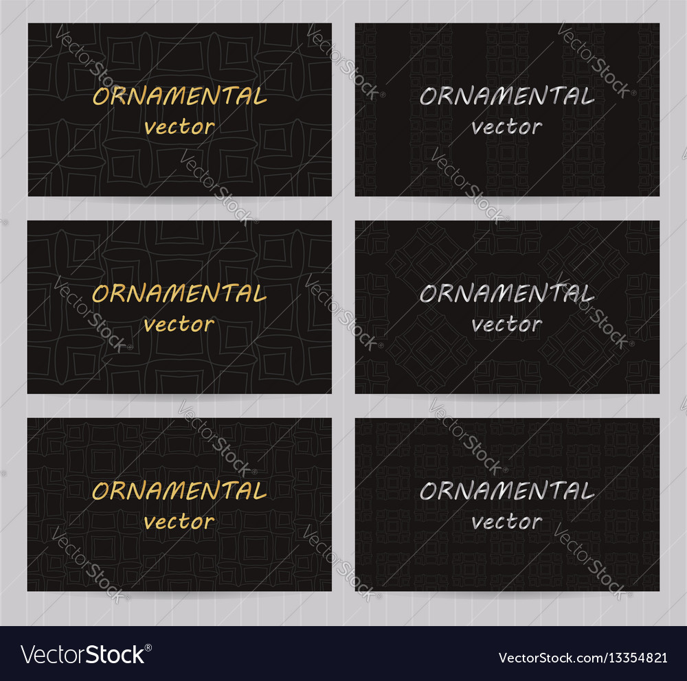 Business cards 35 x 2 inch size set with seamless Vector Image