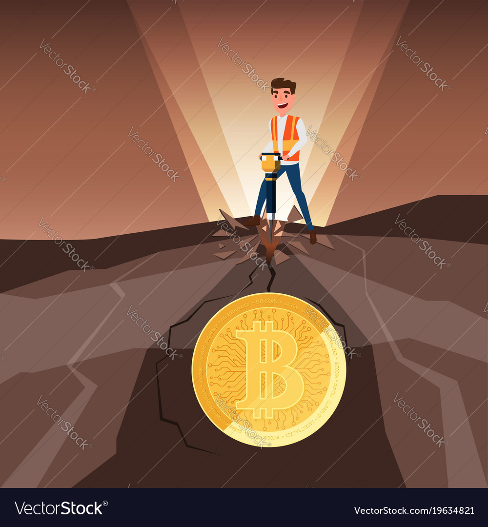 Businessman mining bitcoins with jackhammer