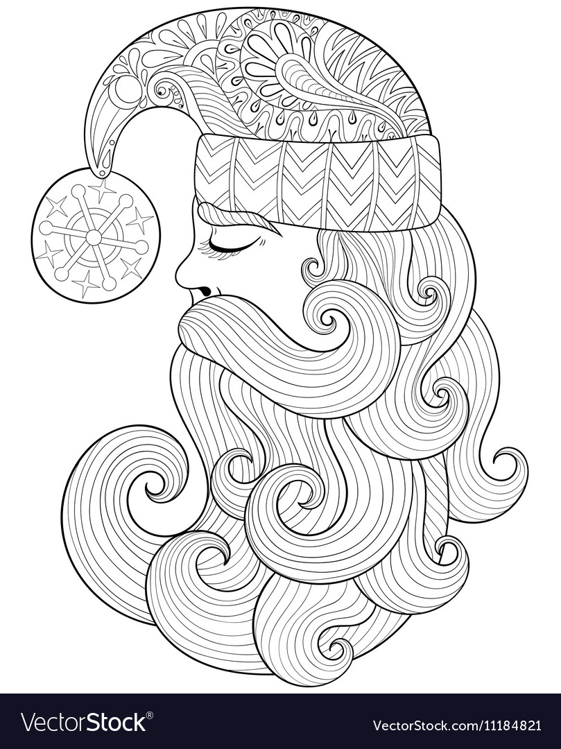 christmas zentangle santa claus for adult vector image