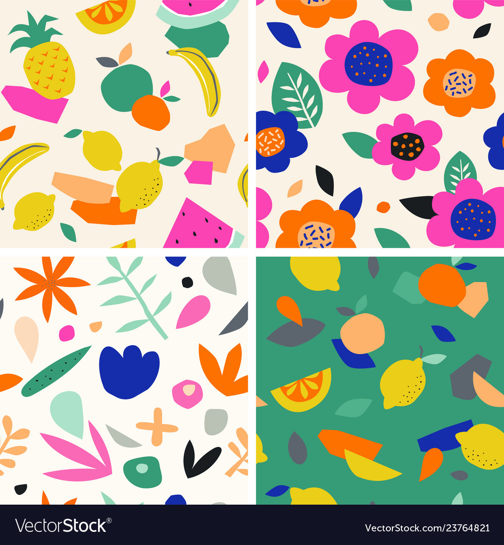 Colorful seamless pattern in paper cutout style