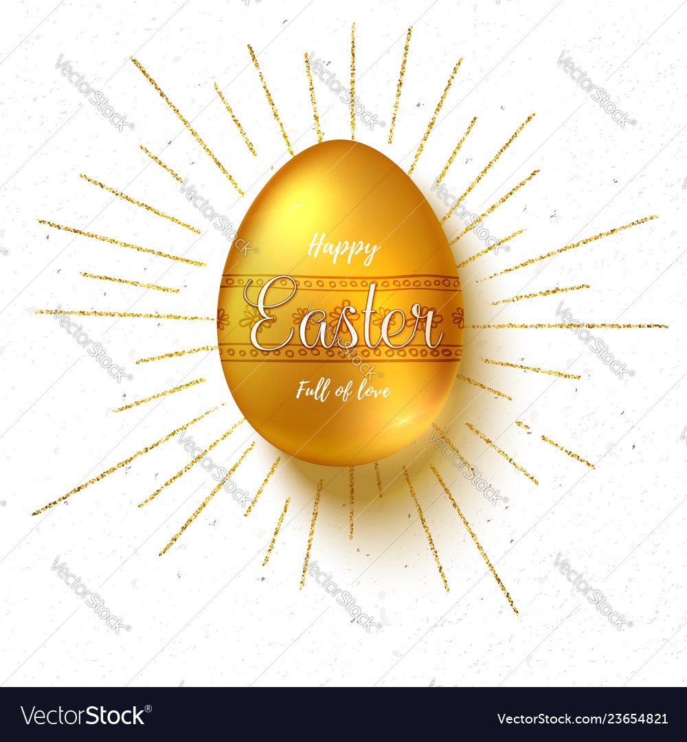 Golden easter egg with hand painting patterns