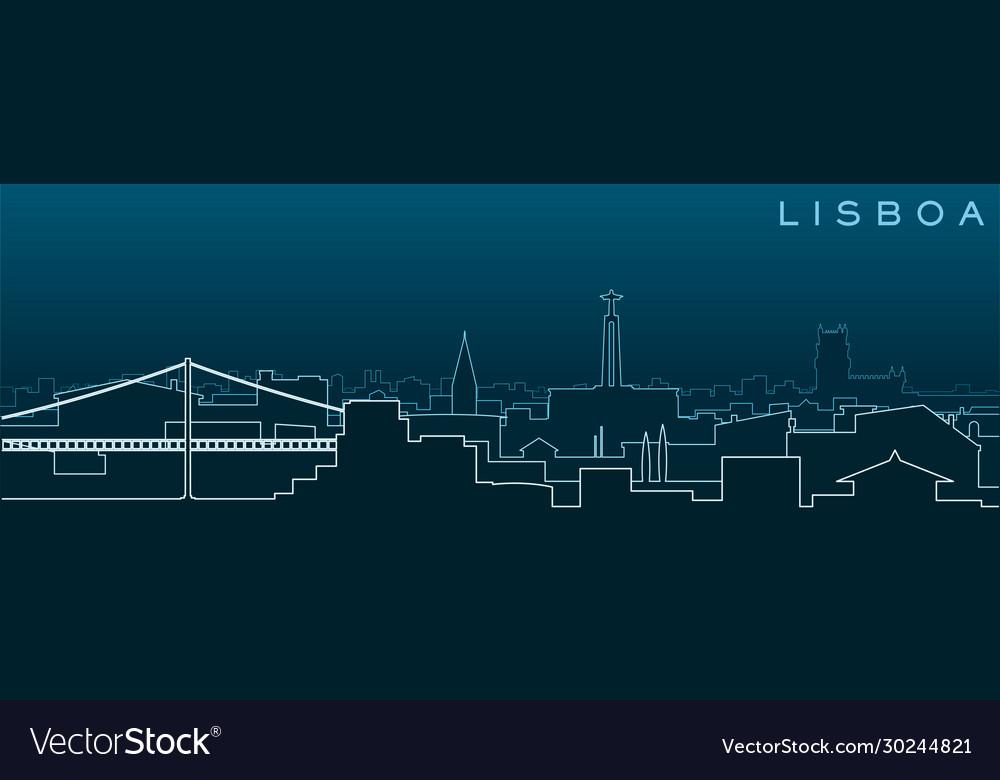 Lisbon multiple lines skyline and landmarks