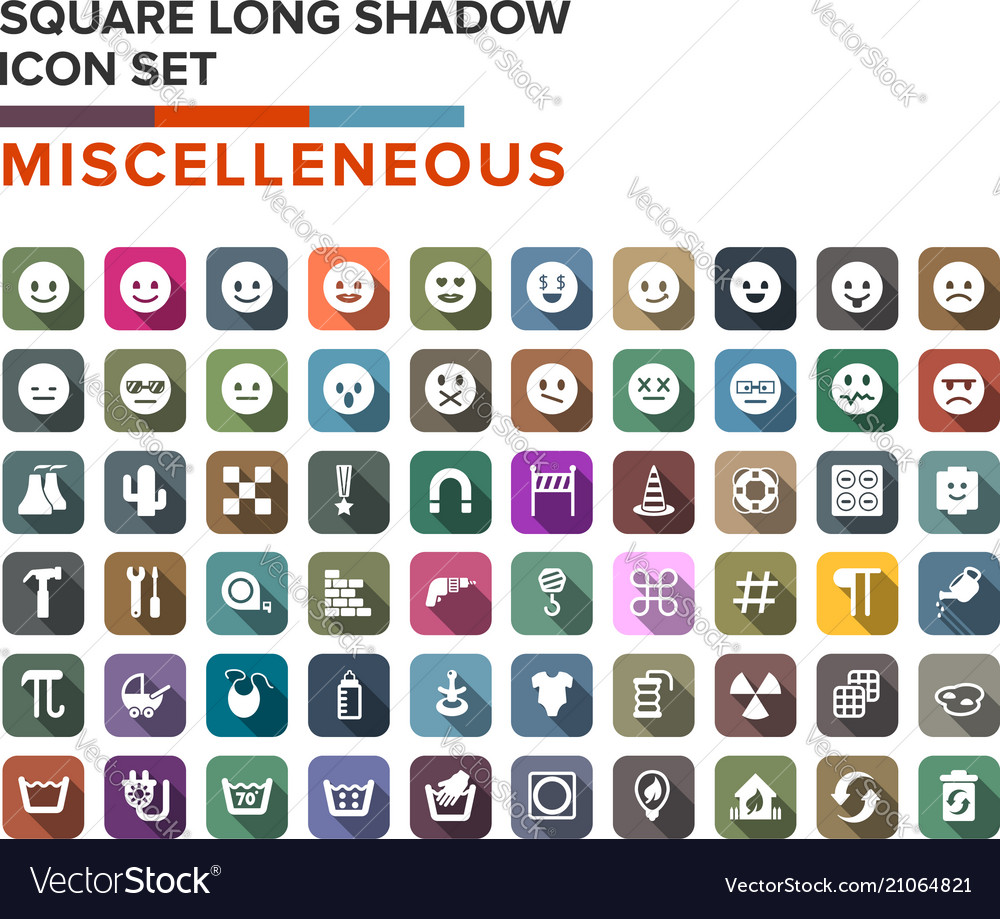 Miscelleneous and emotion icons long shadow set