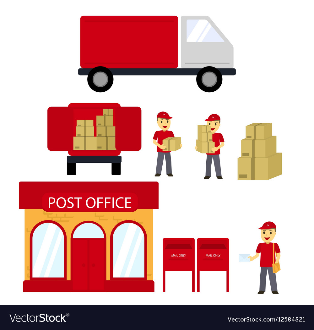 Post office boxes postmanDelivery truck Delivery