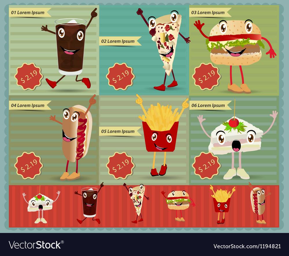 Set of Retro fast food menu funny cartoon vector image