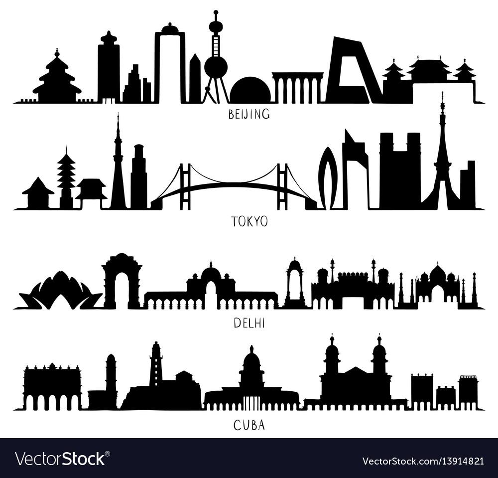 Skyline silhouette with city landmarks beijing