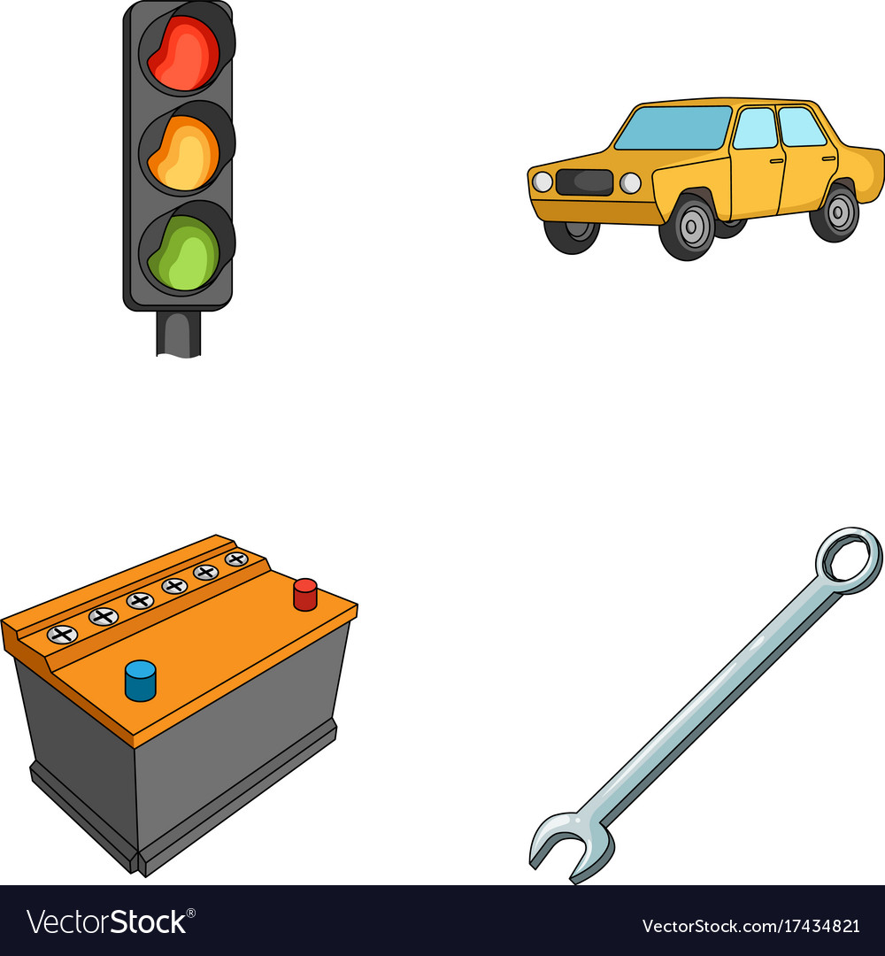 sc 1 st  VectorStock & Traffic light old car battery wrench car set Vector Image