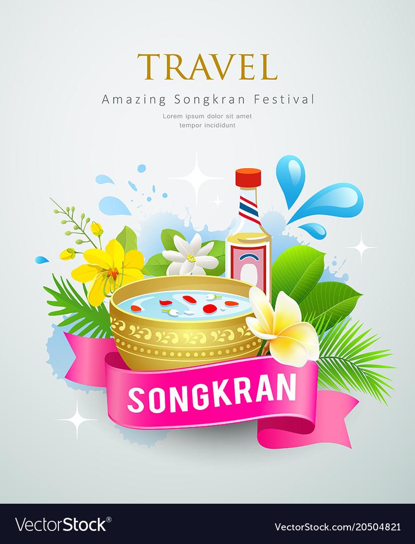 Travel amazing songkran festival water splash