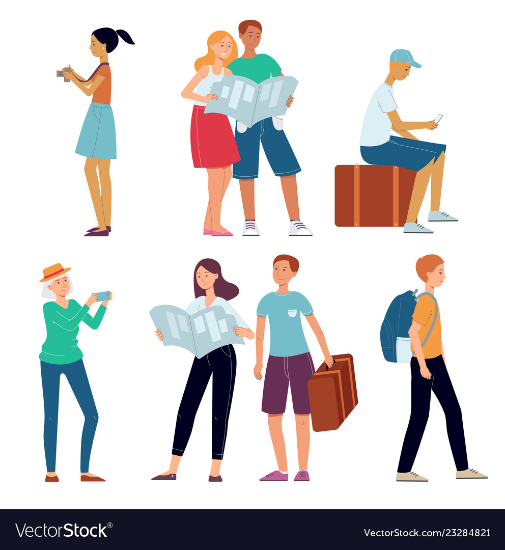 Traveling people character concept flat set