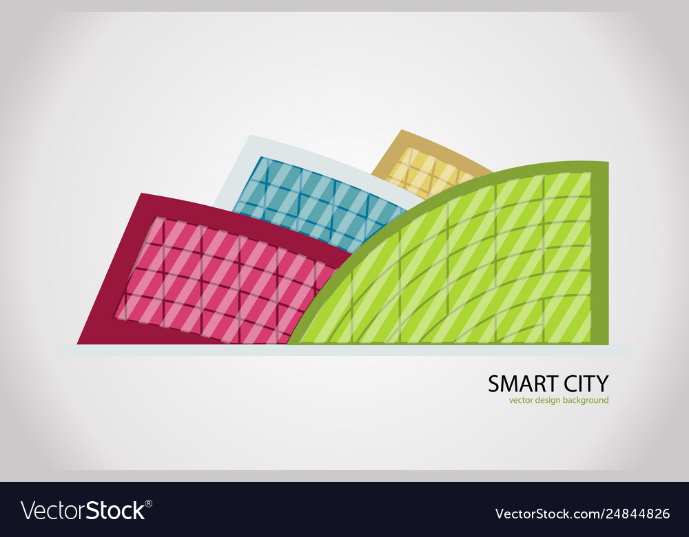 Abstract colorful city building composition sign