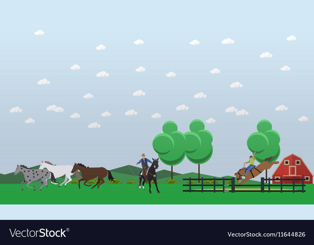 Banner of taming horses theme flat design