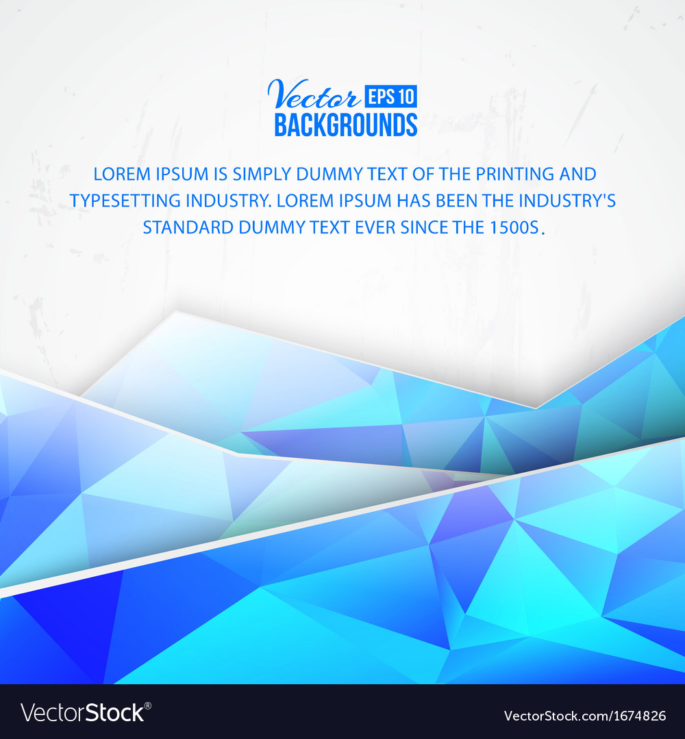 Blue triangles and waves on white background vector image