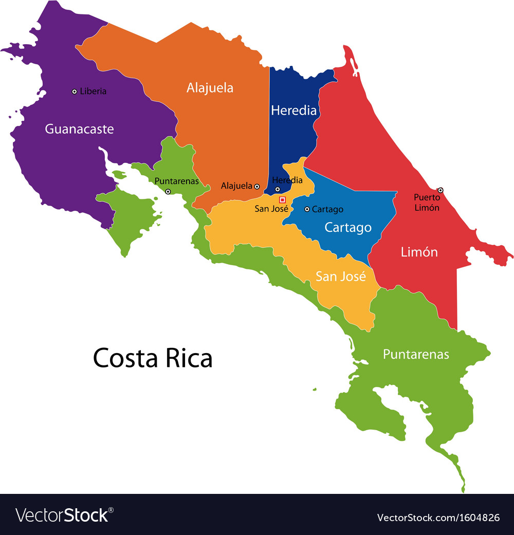 Costa Rica map Royalty Free Vector Image - VectorStock