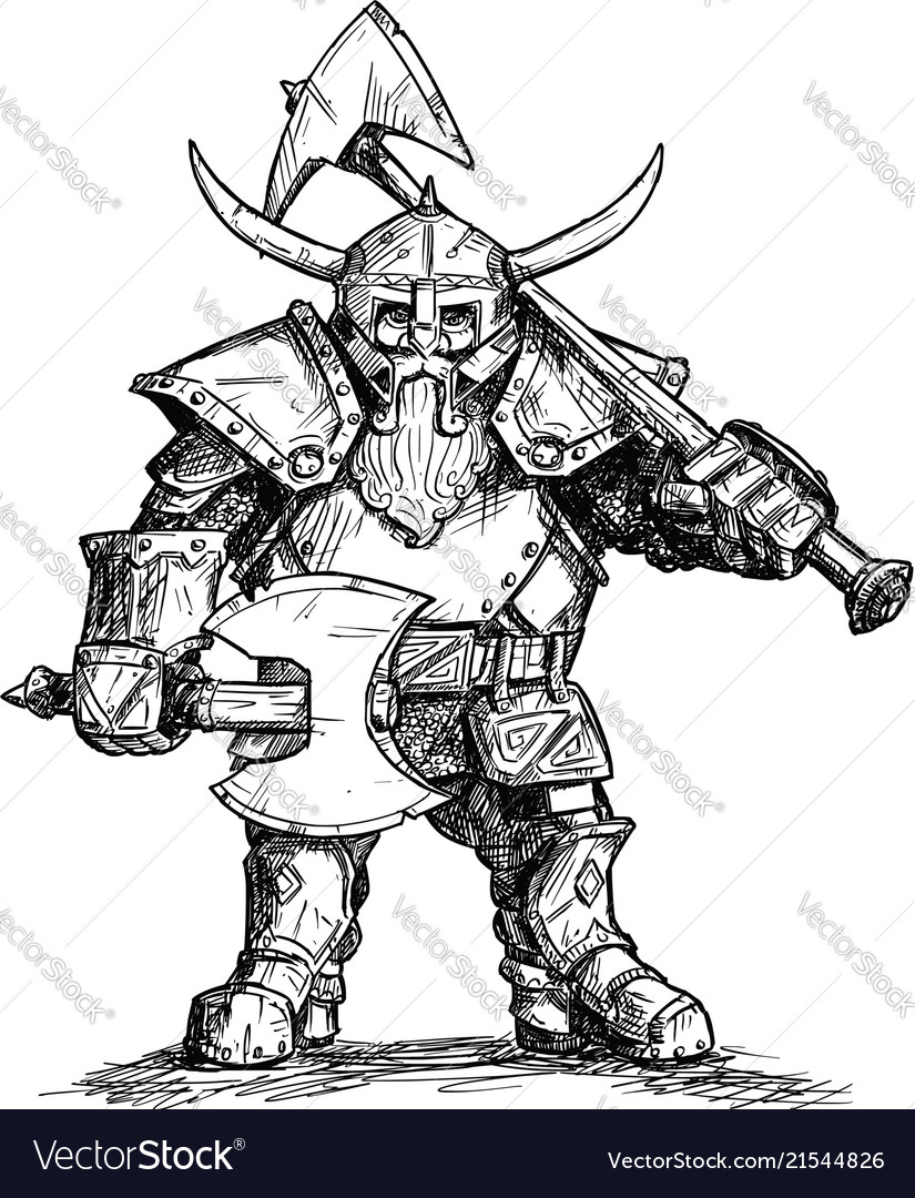 drawing of fantasy dwarf warrior in armor with vector image