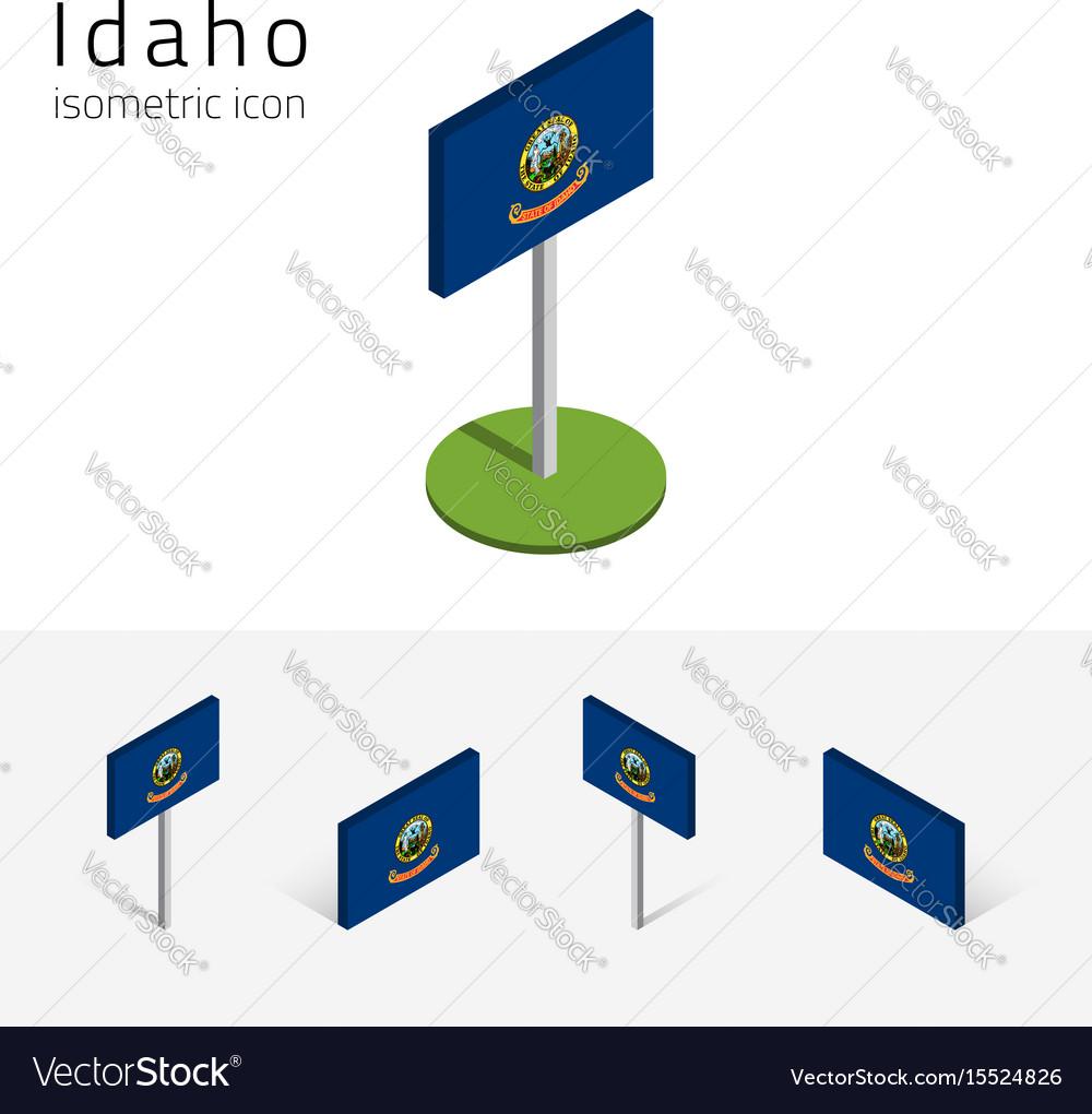 Flag of idaho usa 3d isometric flat icons