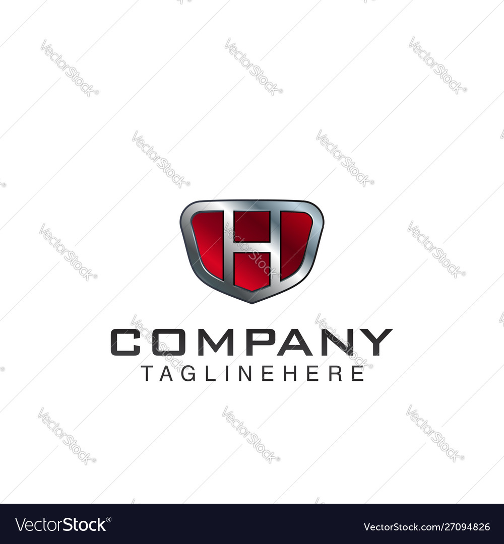 H letter shield logo template black and red color