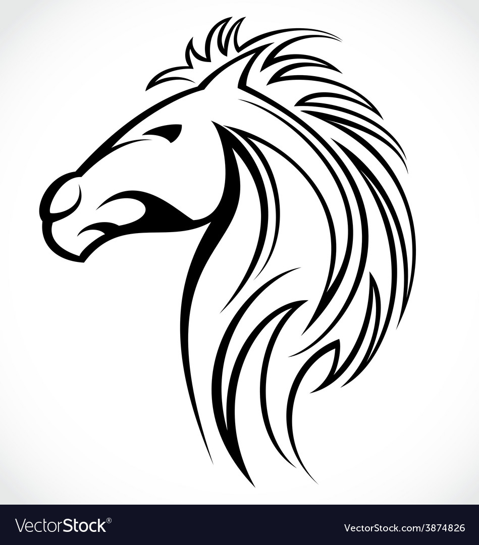 horse head tattoo design royalty free vector image  vectorstock