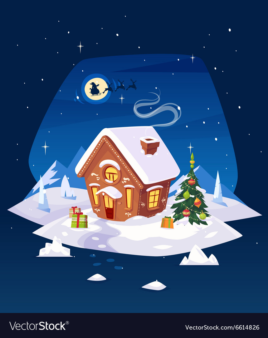 House in the forest Christmas card poster or