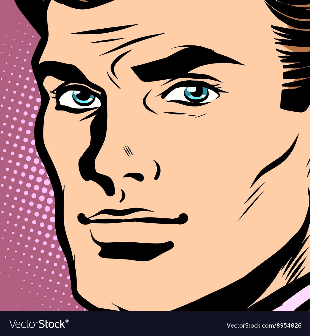 Male face profile close-up pop art