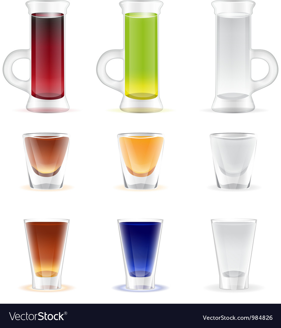 Mix of colorful alcohol shots drink