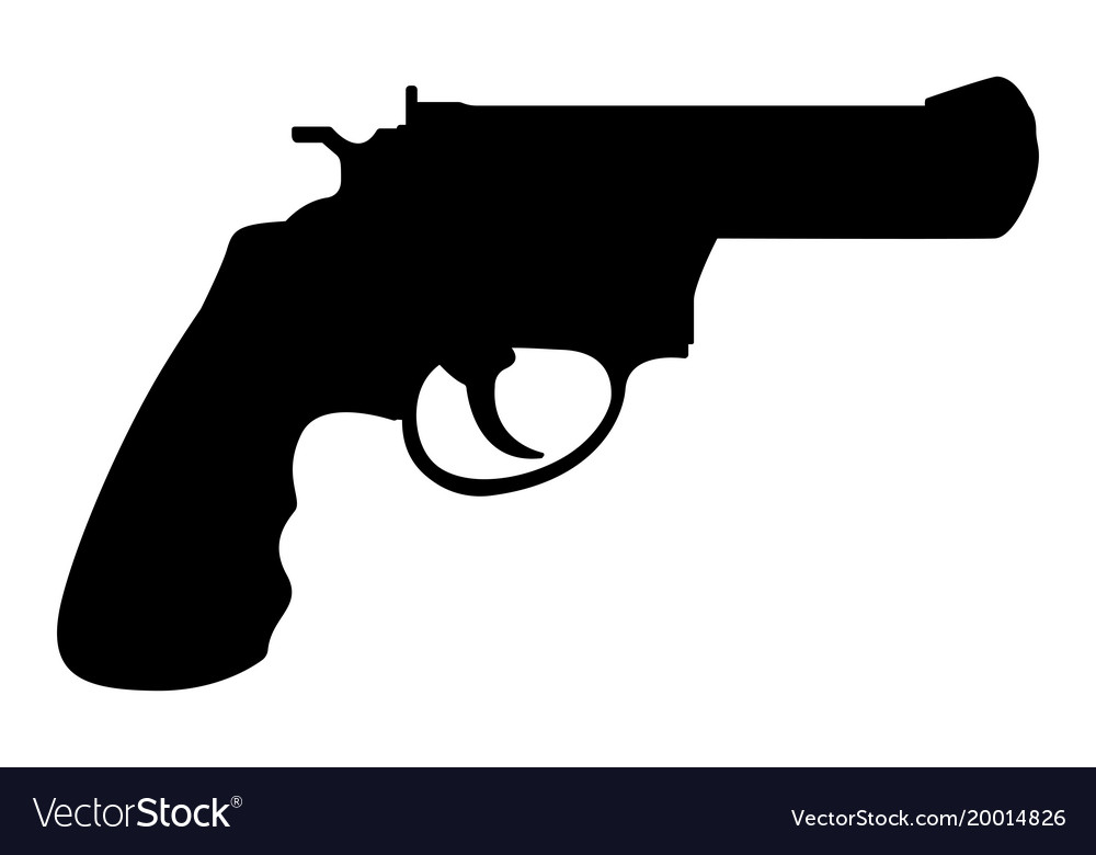 Revolver gun black silhouette drawing