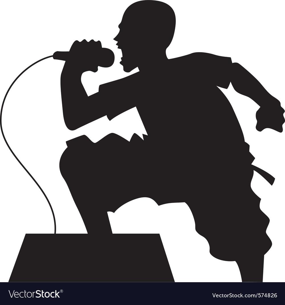 Rock singer silhouette vector