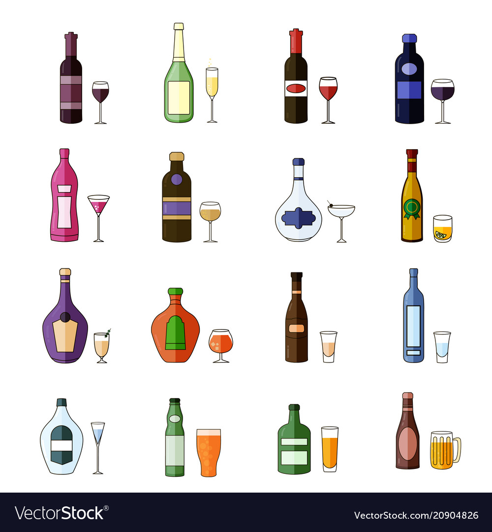 Set of flat alcohol drinks icons