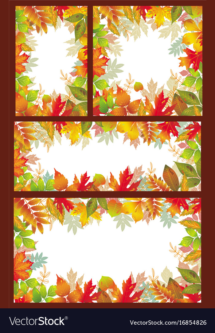 Set of seasonal banner of autumnal leaves