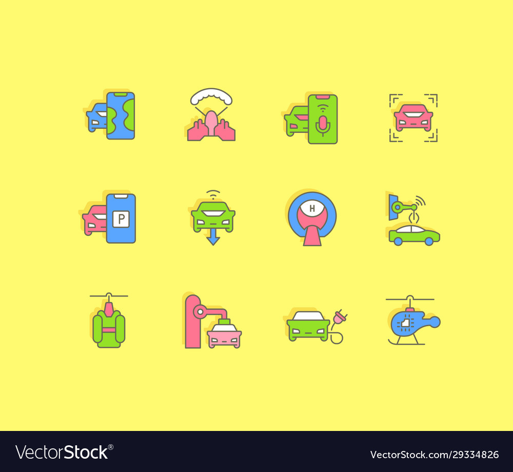 Set simple line icons transport technology