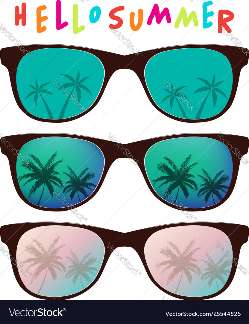 Set sunglasses with palm tree reflection