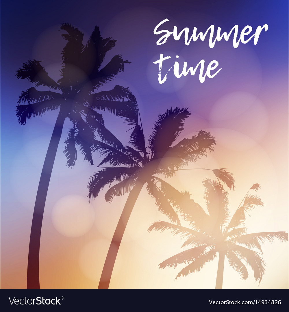 Summer time greeting card invitation silhouette
