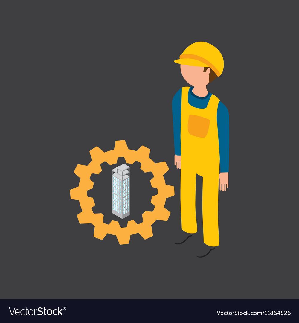 Under construction gear building design vector image