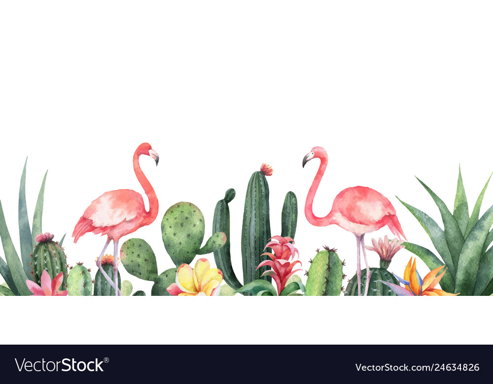 Watercolor banner tropical flowers