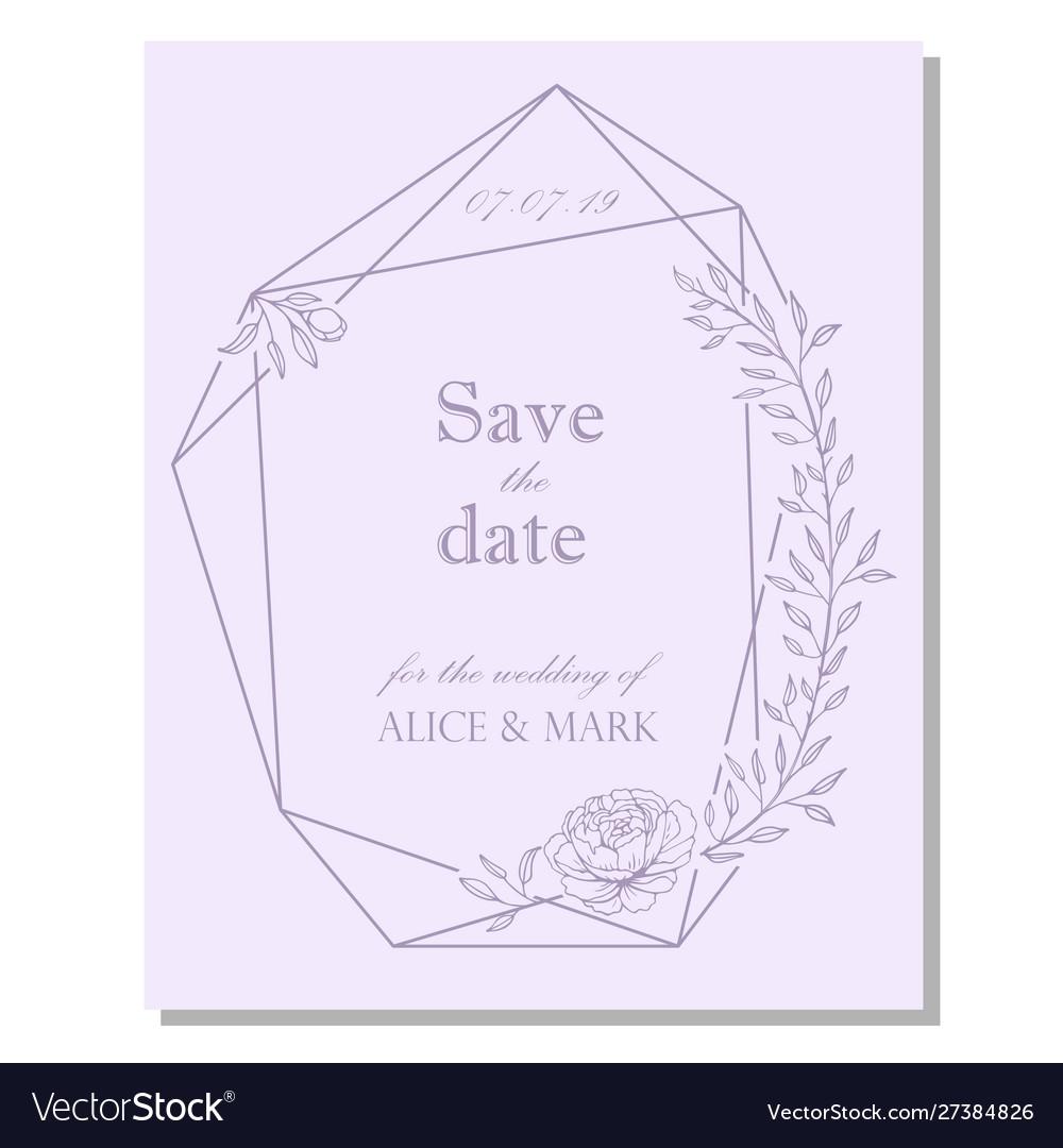 Wedding invitation design with floral frame