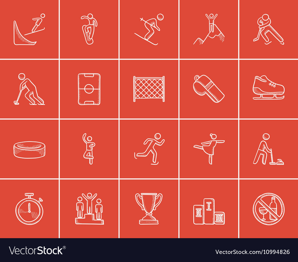 Winter sport sketch icon set