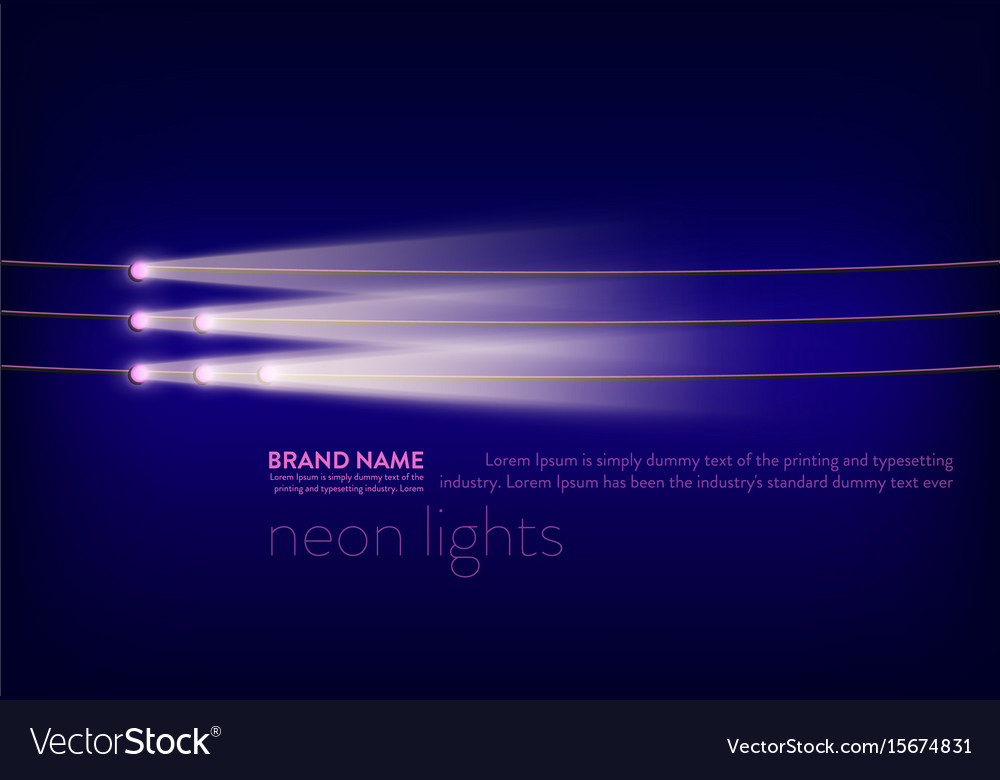 Abstract purple banner with neon spotlights