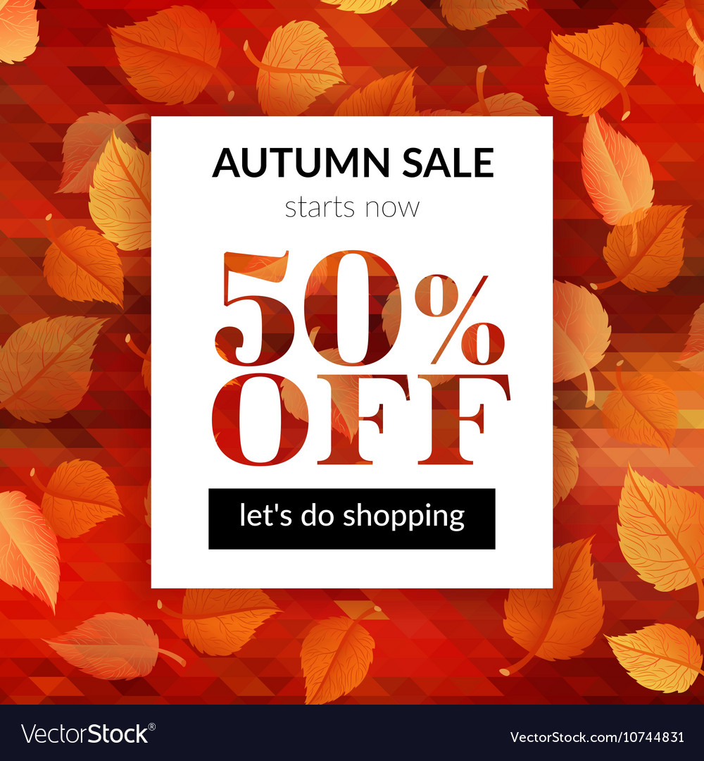 Autumn sale background with alder leaves