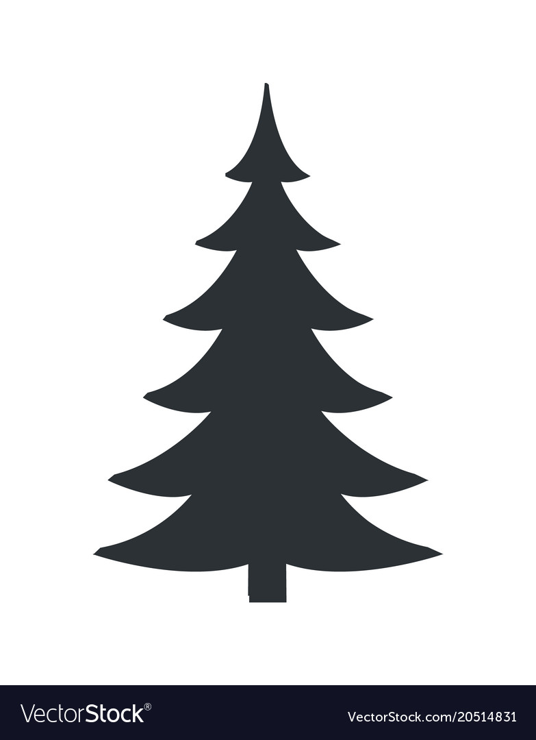 Christmas Tree Black Silhouette Icon Royalty Free Vector