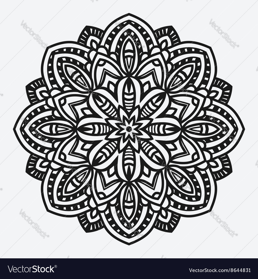 Floral ornament circular pattern vector image