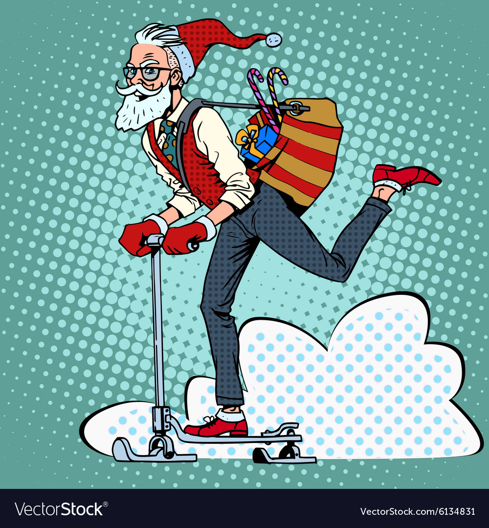 Hipster Santa Claus spreads the Christmas gifts on