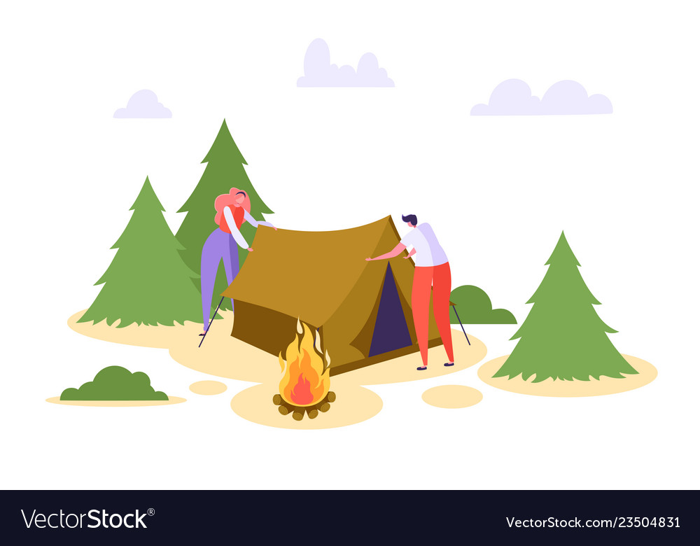 Man woman put up tent forest vacation people