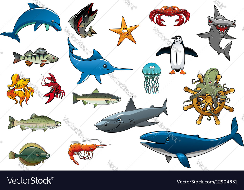 Sea fish and ocean animals cartoon icons vector image