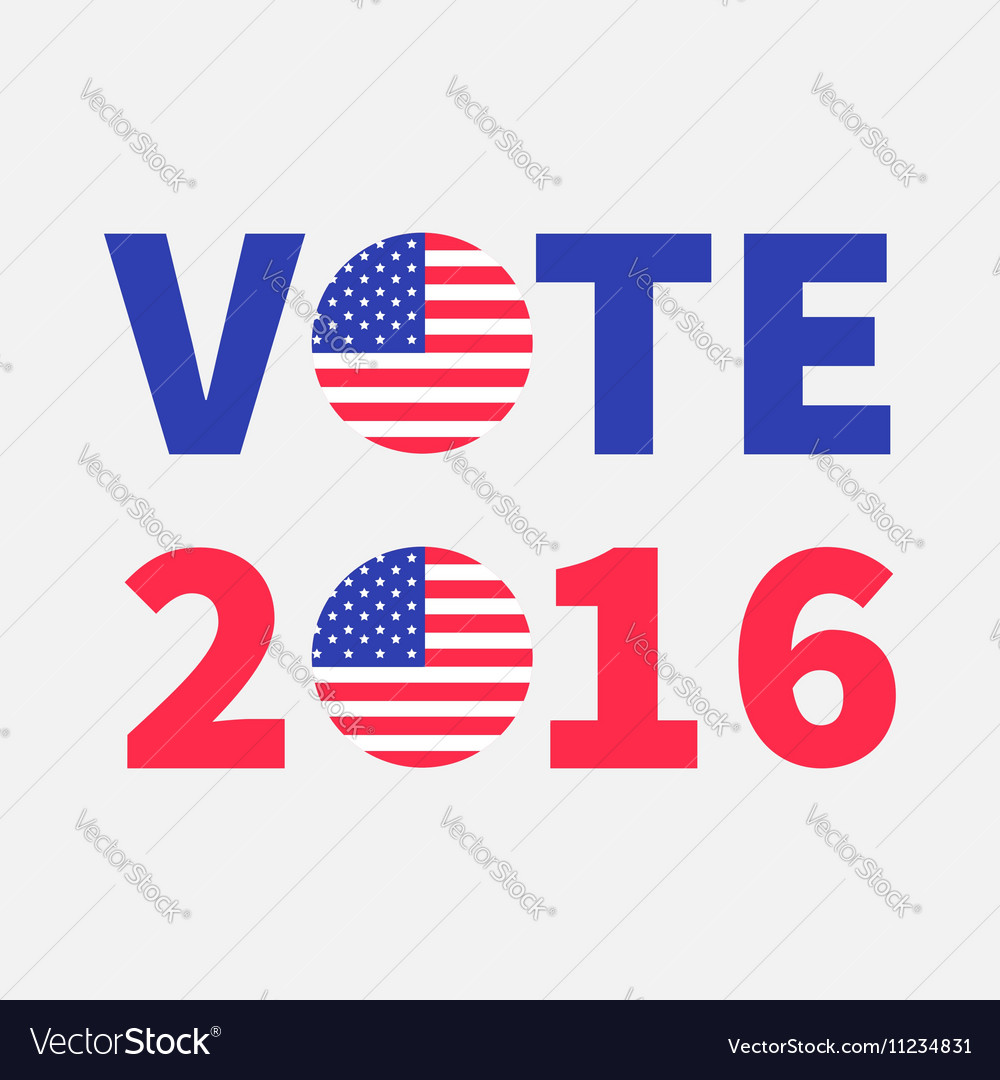 Vote 2016 red blue text Badge button icon with